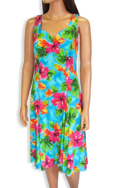 Teal Water Hibiscus Mid-Length Sundress Flower Tank Dress