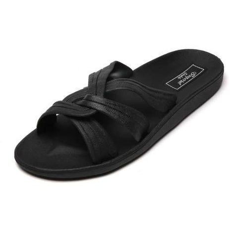 Black Women Slippers Twisted Straps Makana