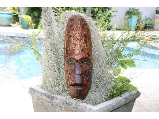 "Fijian Tiki Mask W/ Turtle & Gecko - 20"" - Hawaiian Decor"