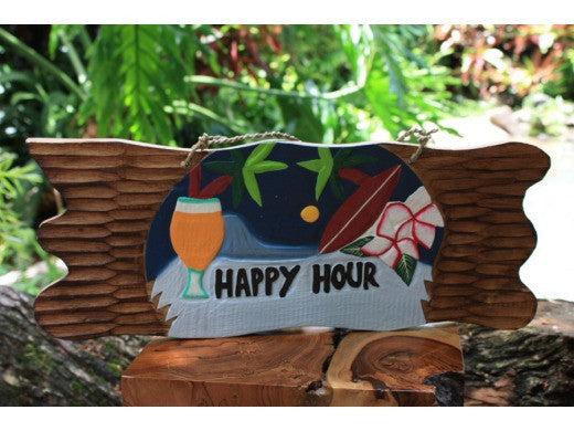 "Tiki Bar Sign ""Happy Hour"" Night on the Beach Sign 20"""