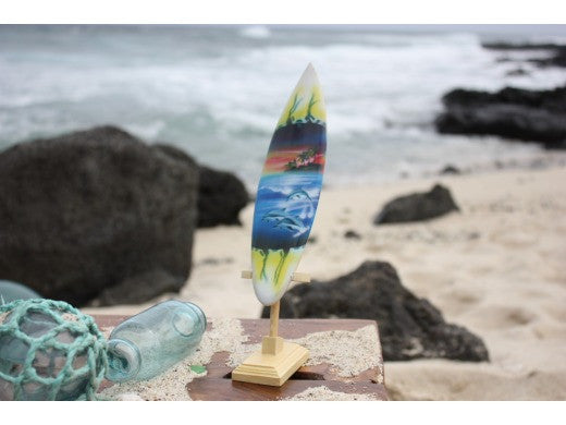"Surfboard w/ Stand Dolphins In Shorebreak Design 8"" - Trophy"
