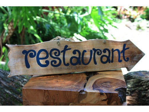 """Restaurant"" Driftwood Sign 20"" - Tiki Bar Decor"