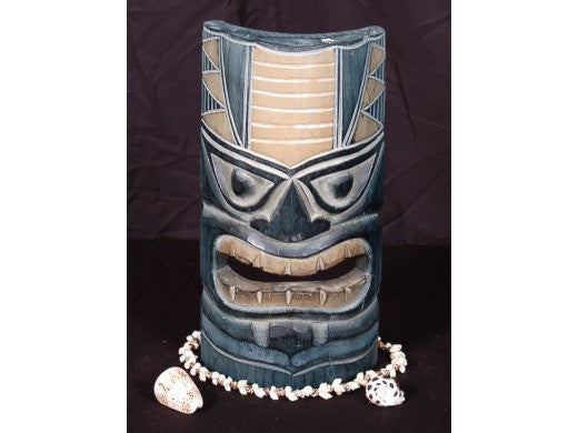 "Carved Polynesian Tiki Mask 12"" - Oceanic Decor"