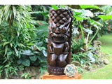 Ocean/Fishing Tiki Sculpture 26 in Stained - Hand Carved | Hawaii