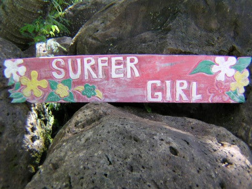 "Decor , Hawaii Decor - Vintage Hawaii ""Surfer Girl"" Roxy Tiki Decor Sign - 39"" - Island Decor"