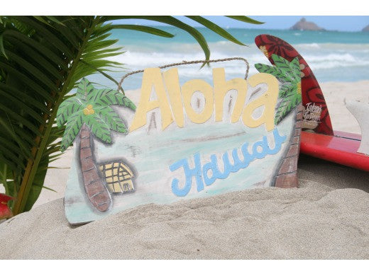 """Aloha, Hawaii"" Vintage Palm Sign 20"" - Tropical Decor"