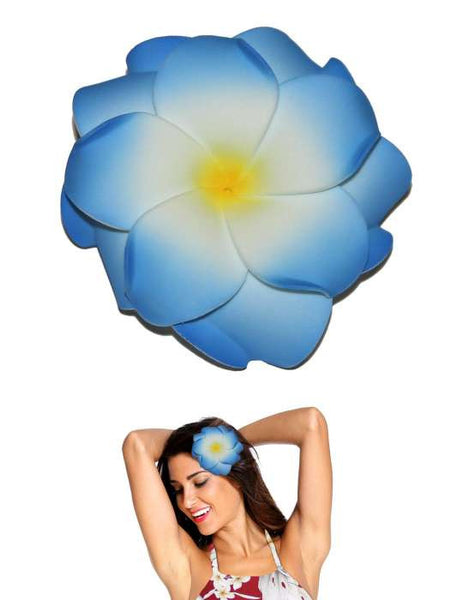 Extra Large White Blue Flower Double Plumeria Hair Clip