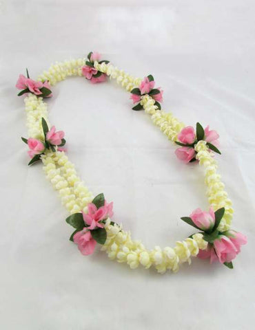 Double Pikake with Pink Rosebuds Luau Silk Lei