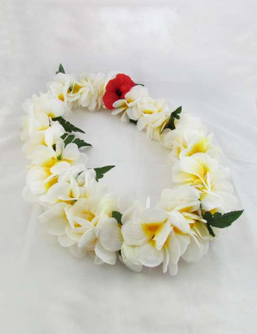 White Plumerias Silk Flower Lei