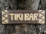 "Tiki bar Sign w/ Tribal Design 24"" - Hand Carved"