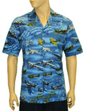 Hawaiian Shirt - American Flag and Airplanes