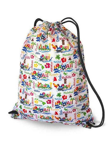 Drawstring Backpack Hawaiian Adventure - White