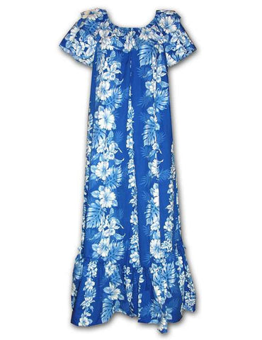 Haku Laape Hibiscus Long Muumuu Hawaiian Dress