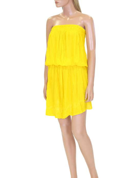 One Piece Yellow Beach Cover-up Strapless Makana