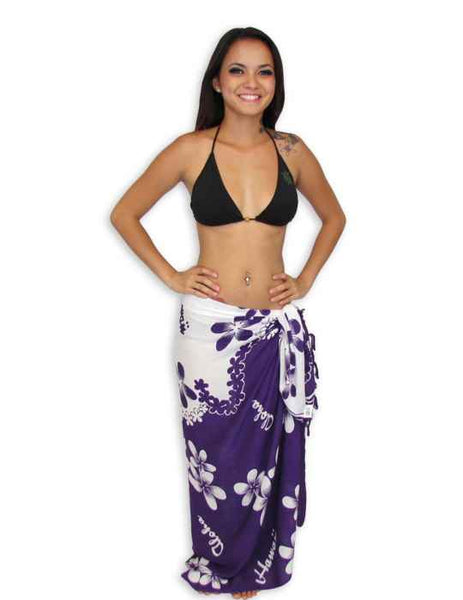 Sarong Pareo Cover Up Island Plumeria Flowers White-Purple
