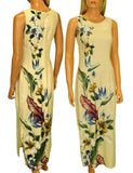 Long Maxi Hawaiian Dress - Birds of Paradise Hibiscus Design