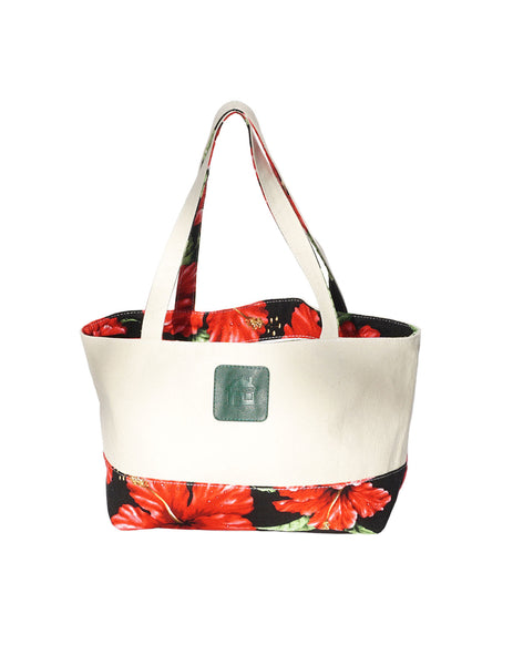 Small Reversible Black Tote Bag Designer Red Hibiscus