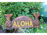 "Welcome Sign ""Aloha"" W/ Pineapple - Dark Stain"