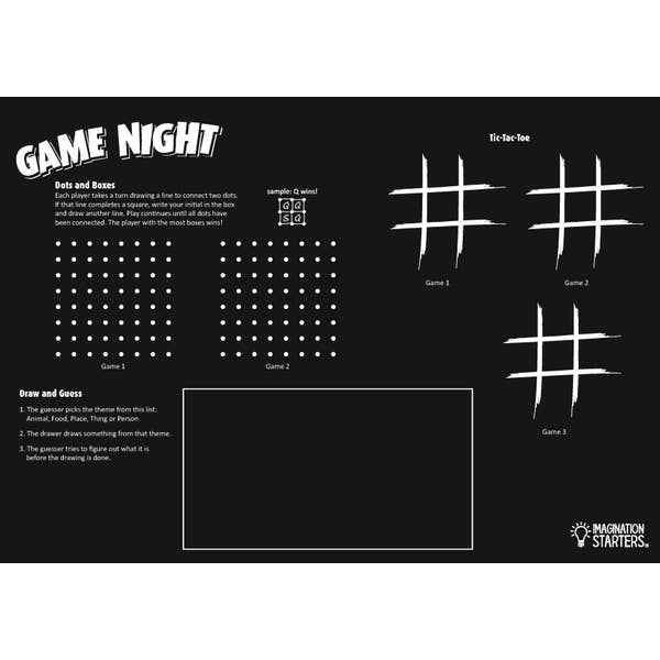 Imagination Starters - Reversible Game Night Placemat Chalkboard