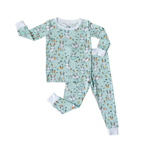 Load image into Gallery viewer, Little Sleepies Two-Piece Bamboo Viscose Pajama Set - Mint Bunnies