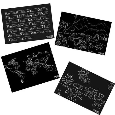 Imagination Starters - Chalkboard Fun and Learning Placemat Set of 4