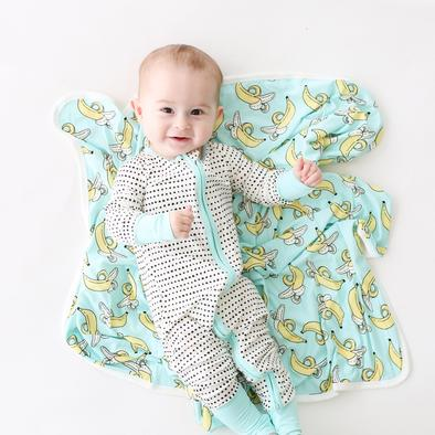 Little Sleepies Bamboo Zip Romper/Sleeper - Turquoise Trim Polka Dots