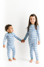 Little Sleepies Two Piece Pajama Set - Blue Rainbows