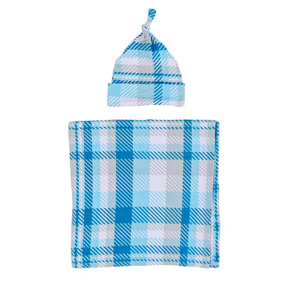 Little Sleepies Bamboo Swaddle + Knotted Hat Set - Blueberry Plaid - FINAL SALE