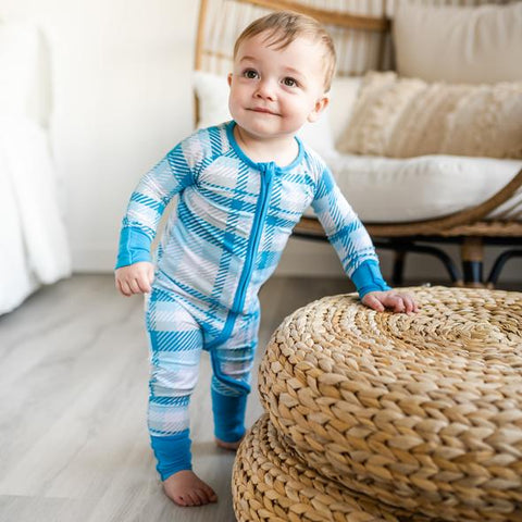 Little Sleepies Bamboo Zip Romper/Sleeper - Blueberry Plaid
