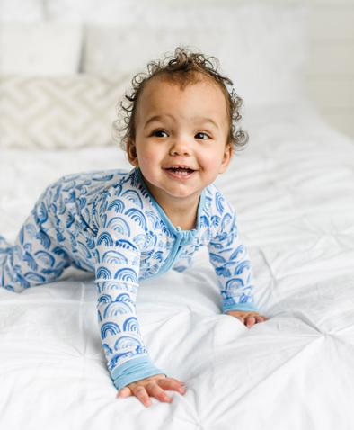 Little Sleepies Bamboo Zip Romper/Sleeper - Blue Rainbows