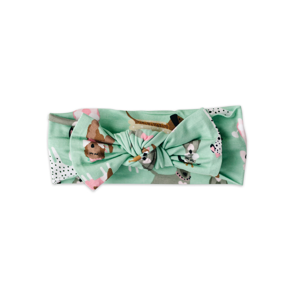 Load image into Gallery viewer, Little Sleepies Bow Headband - Aqua Puppy Love