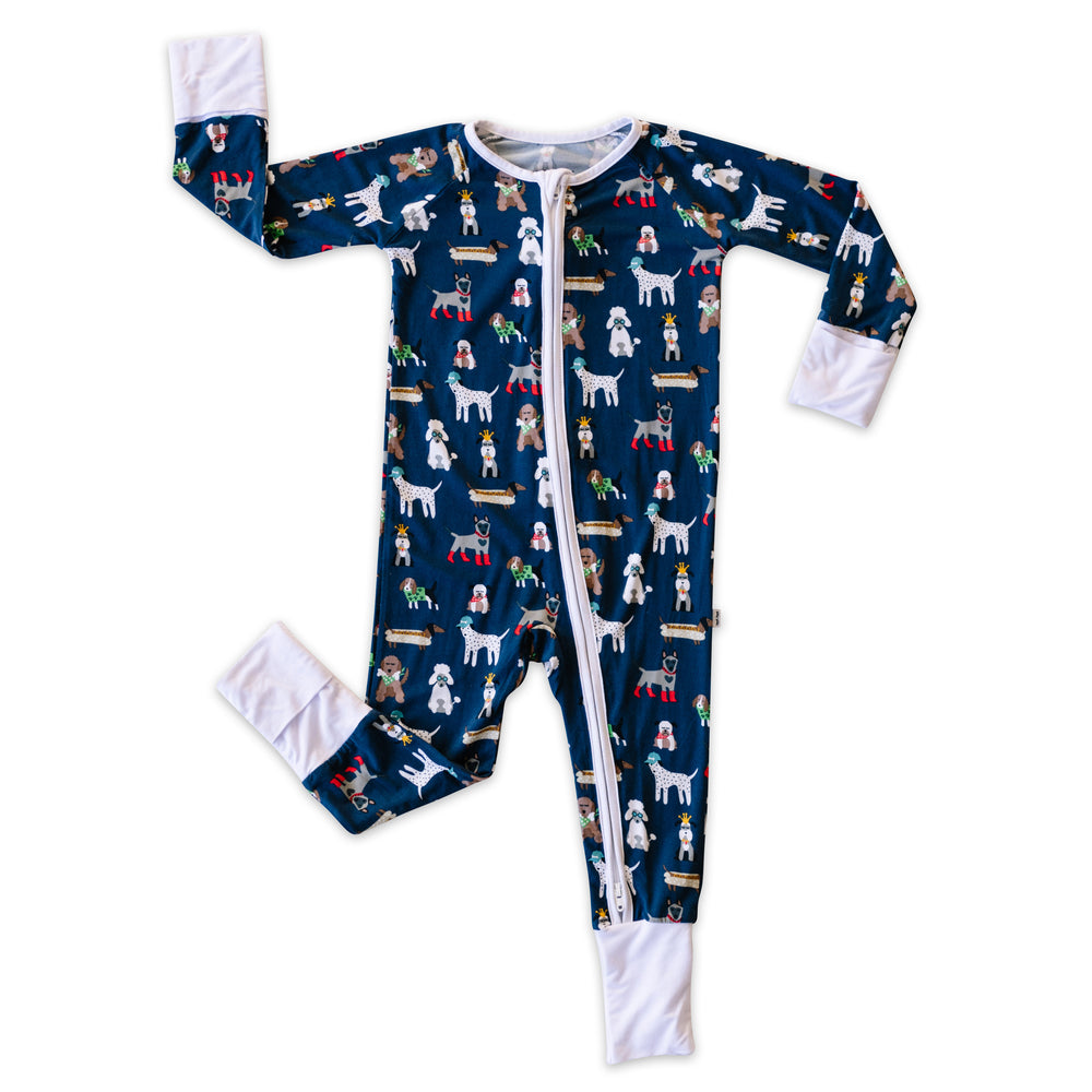 Little Sleepies Bamboo Viscose Zippy - Navy Puppy Love