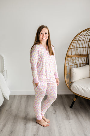 Load image into Gallery viewer, Little Sleepies Women's Bamboo Viscose Pajama Set - Pastel Rainbows