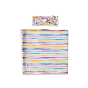 Load image into Gallery viewer, Little Sleepies Bamboo Viscose Swaddle + Headband Set - Sunrise Stripes