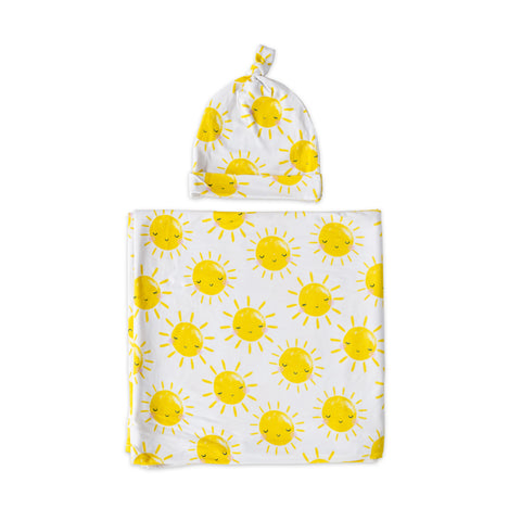 Little Sleepies Bamboo Viscose Swaddle + Hat Set - Sunshine