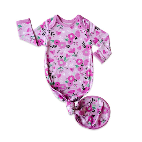 Little Sleepies Bamboo Viscose Infant Knotted Gown - Sweetheart Floral