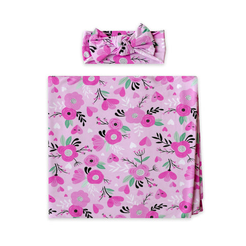 Little Sleepies Bamboo Viscose Swaddle + Headband Set - Sweetheart Floral