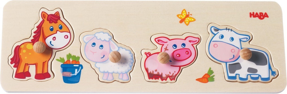 Load image into Gallery viewer, Haba Baby Farm Animals Clutching Puzzle