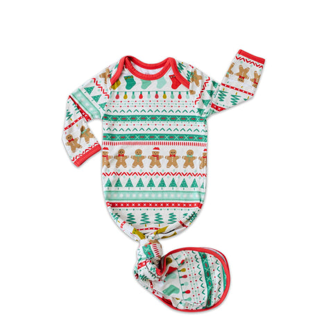 Little Sleepies Fair Isle Holiday Knotted Gown