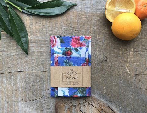 OLSEN+OLSEN Organic Beeswax Wraps pack of 3 - Navy Flowers