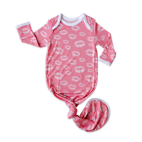 Little Sleepies Bamboo Viscose Infant Knotted Gown - Pink Kisses