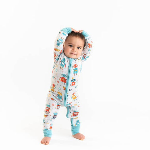 Little Sleepies Bamboo Zip Romper/Sleeper - Robots