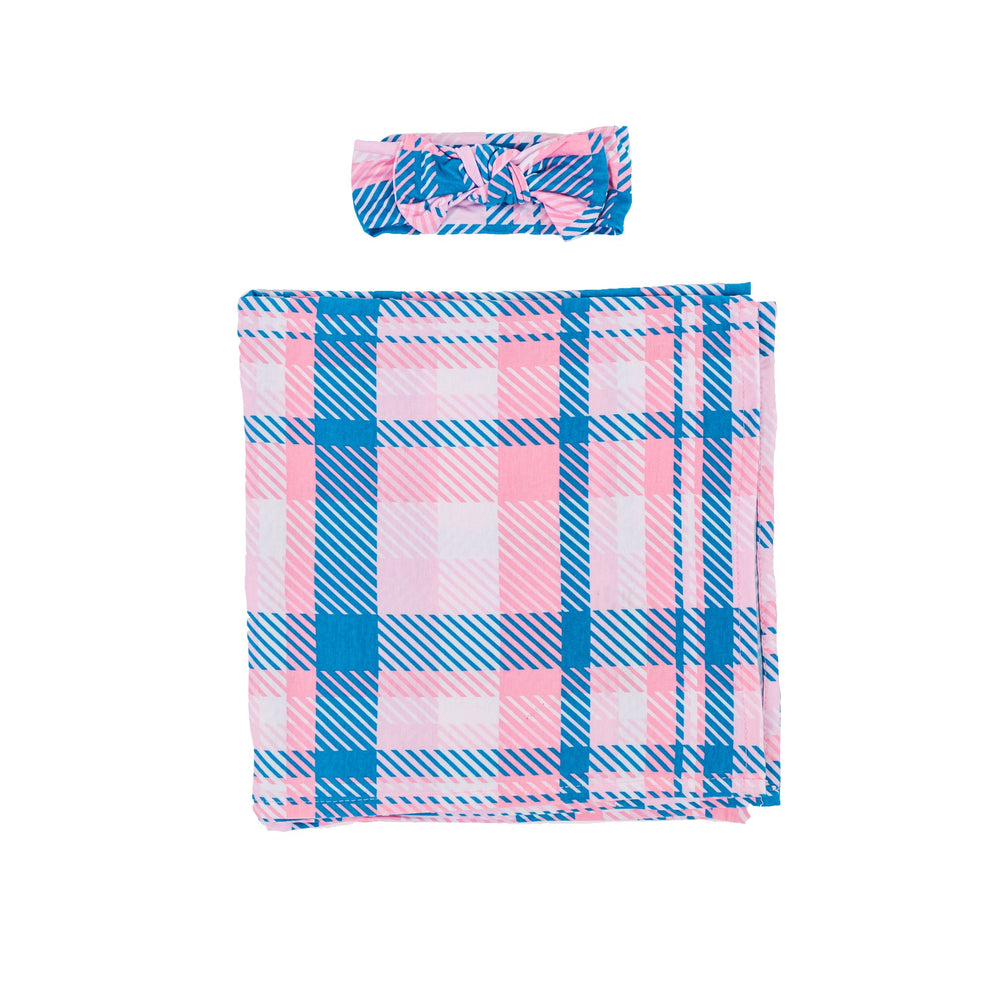 Little Sleepies Bamboo Swaddle + Headband Set - Rosy Plaid - FINAL SALE
