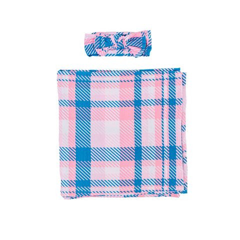 Little Sleepies Bamboo Swaddle + Headband Set - Rosy Plaid