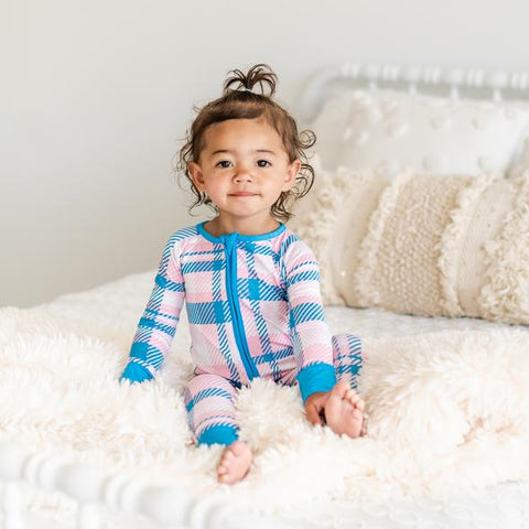 Little Sleepies Bamboo Zip Romper/Sleeper - Rosy Plaid