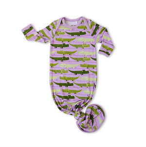 Little Sleepies Bamboo Infant Knotted Gown - Purple Crocodiles