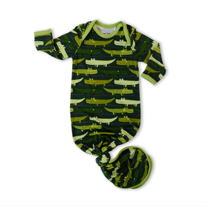 Little Sleepies Bamboo Infant Knotted Gown - Green Crocodiles