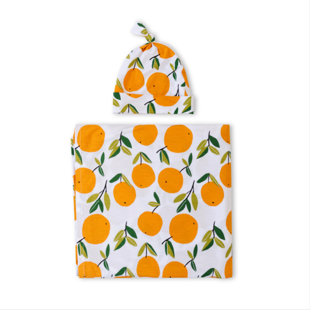 Little Sleepies Bamboo Swaddle + Hat Set - Clementines
