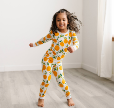 Little Sleepies Two Piece Pajama Set - Clementines