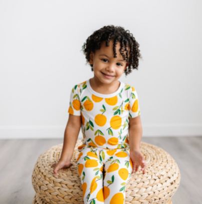 Little Sleepies Two Piece Short Sleeve Pajama Set - Clementines